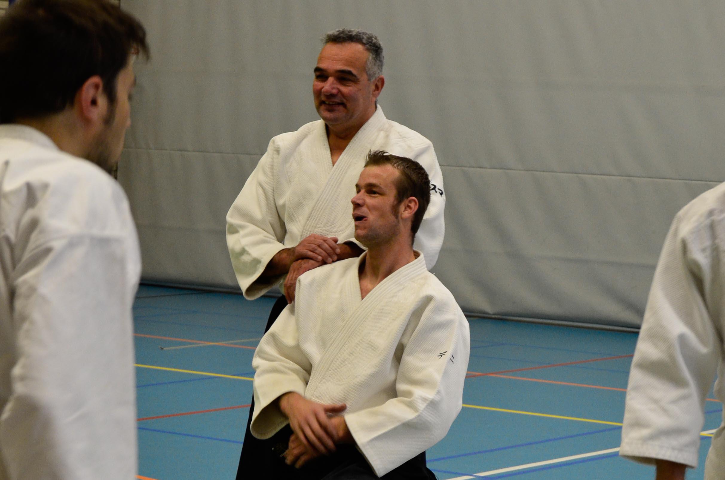 Wilko Vriesman en Danny Rebel tijdens Aikido Centrum Rotterdam stage (november 2013)