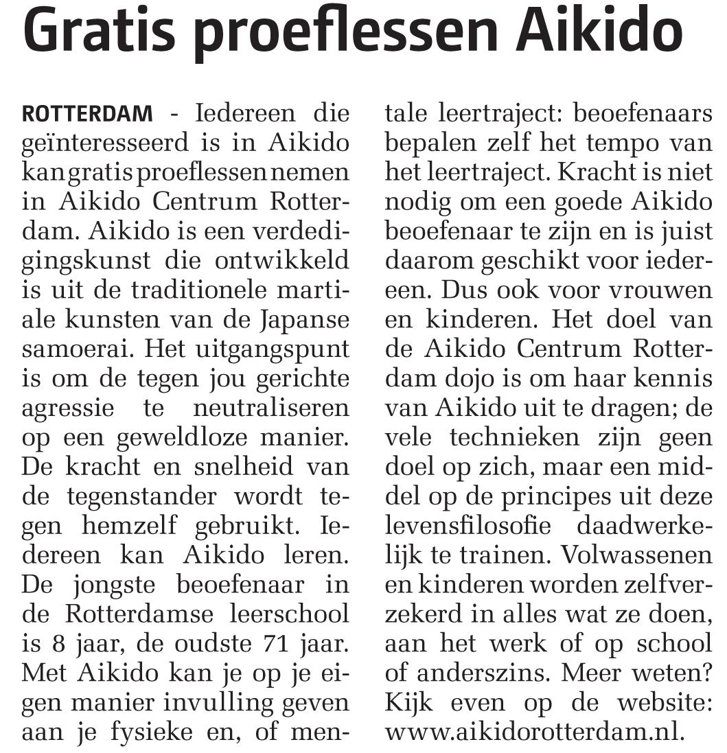 Aikido Centrum Rotterdam in weekkrant De Havenloods Noord d.d. 21 mei 2014